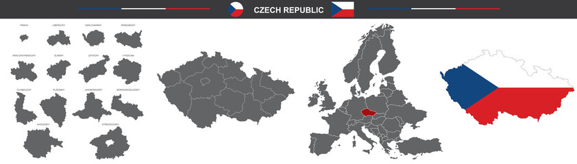 Obraz political map of Czech Republic on white background - fototapety do salonu