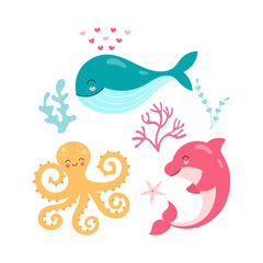 MobileSet of cute underwater animals. Whale, octopus, dolphin, starfish, seaweed isolated on white background. Vector illustration for children.
