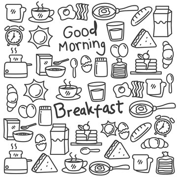 Set of breakfast food doodle vector illustration. Breakfast doodle background