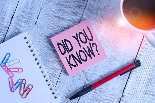 Writing note showing Did You Know Question. Business concept for when you are asking someone if they know fact or event Stationary placed next to a cup of black coffee above the wooden table