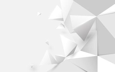Wall Mural - Abstract white 3d low polygonal background. Vector illustration