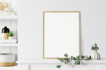 Frame mockup. Coastal Scandinavian interior style. 3d rendering, 3d illustration