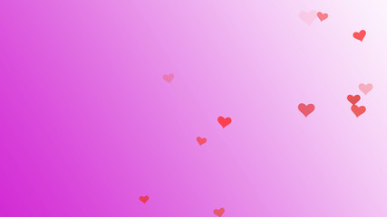 Valentine day. Romantic red heart flying on pink background. Royalty high-quality free best stock beautiful Valentine day postcard with pink hearts isolated falling. Good design elements, illustration