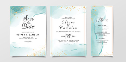 Blue watercolor wedding invitation card template set with gold glitter and line decoration. Abstract background save the date, invitation, greeting card, multi-purpose vector Fototapete