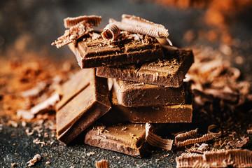 Dark chocolate on dark background