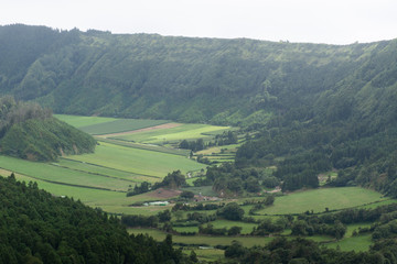 Aluminium Prints Olive view of mountains, valleys, fields, and lakes in the Azores