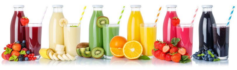 Wall Mural - Collection of fruit juice drink glass and bottle isolated on white