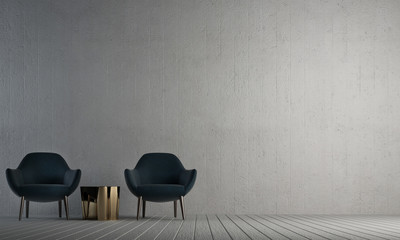 Modern lounge interior design of living room and concrete wall texture background