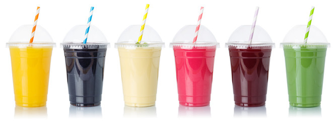 Set of fruit smoothies fruits orange juice straw drink in cups isolated on white