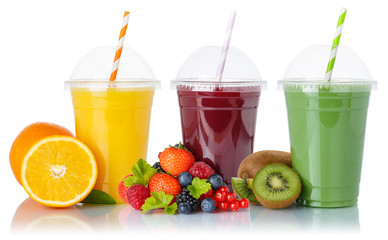 Wall Mural - Fruit smoothies fruits orange juice green smoothie drink collection straw cup isolated on white
