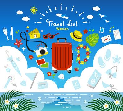 travel set / vector simple / summer, vacation