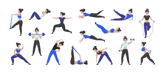 Fitness workout. Cartoon woman character doing sport exercises and training in gym, isolated female character. Vector set isolated illustration active women in fitness lifestyle