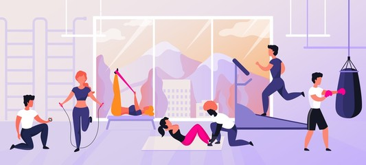 Exercises at gym. Cartoon characters doing sport activities and training, workout and fitness concept. Vector cardio and weightlifting set healthy exercising with instructor