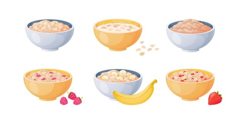 Oat bowls. Cartoon porridge with strawberries and bananas, boiled cereals and healthy food. Vector flat cooking oatmeal cereal seeds bowls on white