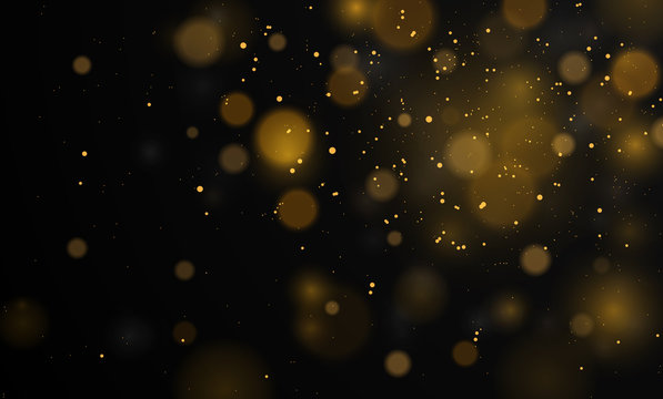 Abstract background with bokeh lights effect.  Vector magical background black and white, silver, gold glitter for Christmas, for your banner, post