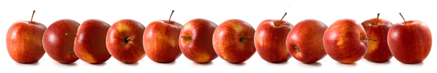 close-up isolated image of apples on a white background
