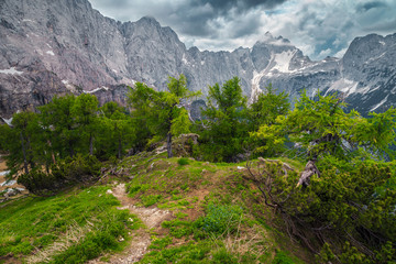 Wall Mural - Stunning mountain landscape with hiking trail in Julian Alps, Slovenia