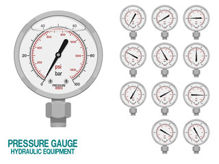 Isolated pressure gauge on white background.This hydraulic equipment is used for measuring pressure in the system