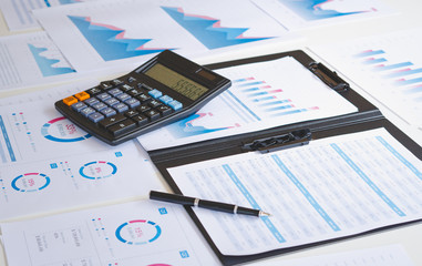 businessman working calculate data document graph chart report marketing research development  planning management strategy analysis financial accounting. Business office concept.