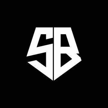 SB logo monogram with pentagon shape style design template