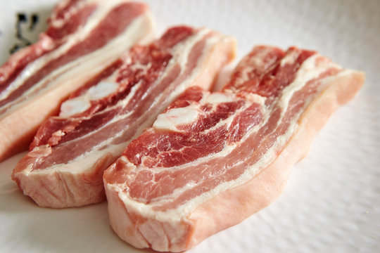 Samgyeopsal, Korean raw pork belly