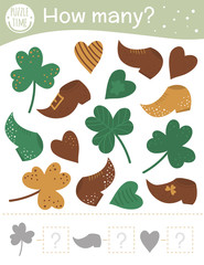 Saint Patrick's Day counting game with holiday symbols. Spring math activity for preschool children. How many objects worksheet. Educational riddle with cute funny pictures..