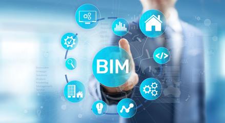 Wall Mural - BIM Building Information Modeling Technology concept on virtual screen.