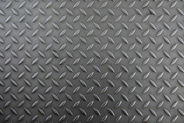 Corrugated metal sheet for the floor. The color is silver gray. The structure of the sheet is worn by prolonged use as part of the construction of the pedestrian path. Background. Texture.