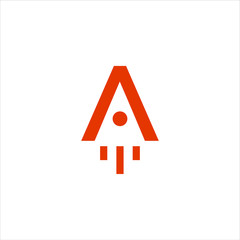 the letter A logo and the rocket logo