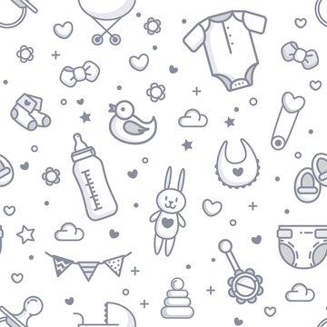Baby Related Seamless Pattern In White and Gray Colors. Vector Cartoon Illustration