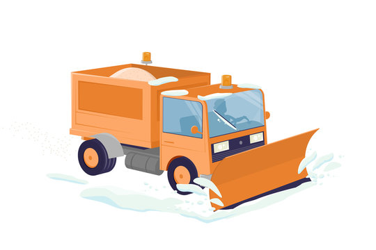 funny cartoon illustration of an isolated snow plow