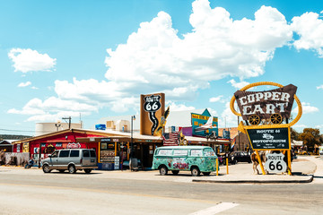 SELIGMAN. Usa. 26th august, 2017: famous Seligman town crossed by route 66