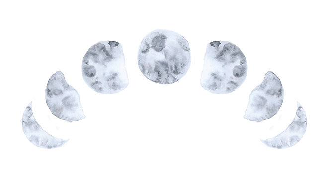 Watercolor moon phases isolated on white background modern space design