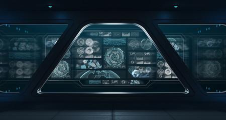 Wall Mural - Dark spaceship interior with control panel digital screens 3D rendering