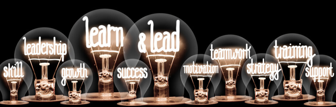 Light Bulbs with Learn & Lead Concept