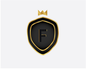 Golden Luxury Letter F logo. Elegant Luxury Logo template in vector for Restaurant, Royalty, Boutique, Cafe, Hotel, wedding, Jewelry, Fashion , emblem, label vector illustration