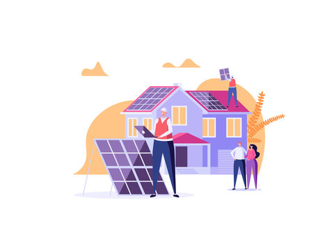 Solar engineer in uniform installs and tunes solar panels on house. Concept of solar energy, solar power, solar engineering service, professions of future. Vector illustration in cartoon design.
