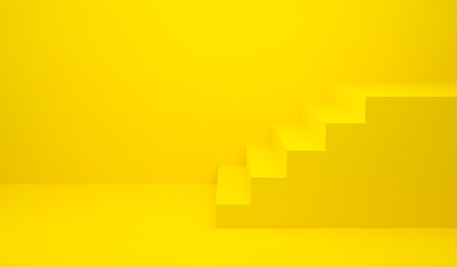 Yellow stairs up and wall background for banner and product presentation. 3D Rendering design. Side view of stairway geometrical abstract. Staircase interior in modern. Minimal scene idea concept.