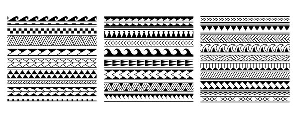 Set of vector ethnic seamless pattern in maori tattoo style. Geometric border with decorative ethnic elements. Horizontal pattern. Design for home decor, wrapping paper, fabric, carpet, textile, cover