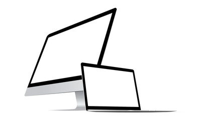 Desktop computers: PC monitor and laptop. Vector illustration
