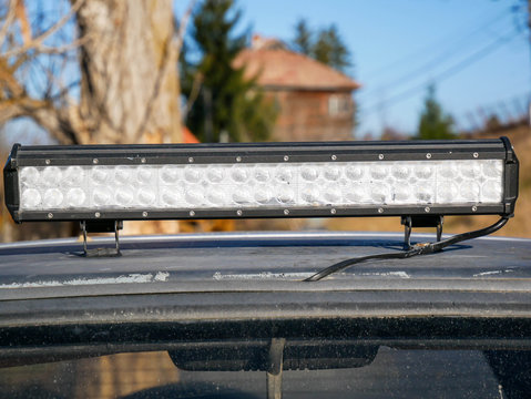 Steamed led bar on the top of an off road vehicle close up shot.
