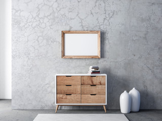 Horizontal Wooden Frame poster Mockup hanging above commode