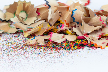 Shavings and colored dust from sharpening pencils