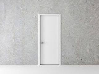 Closed White Door on concrete Wall