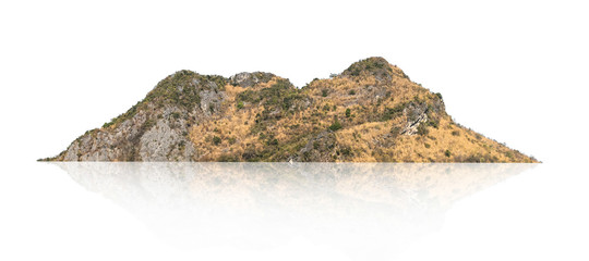 rock mountain hill with  green forest isolate on white background Wall mural