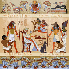 Murals ancient Egypt scene. Gods and pharaohs. Hieroglyphic carvings on the exterior walls