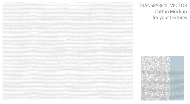 Light pattern with cotton or linen texture. Vector background for your design with transparent shadows.