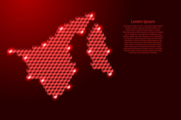 Brunei Darussalam map from 3D red cubes isometric abstract concept, square pattern, angular geometric shape, for banner, poster. Vector illustration. Wall mural