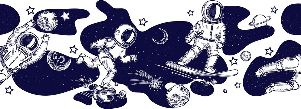 Horizontal seamless border pattern. Running and jumping astronauts. Astronaut on a snowboard.