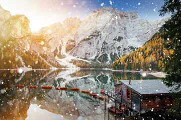 Foto auf Gartenposter Beige Braies lake in winter time with snowfall.